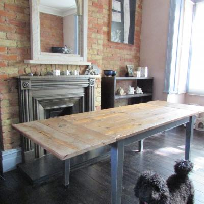 Reclaimed Wood Extending Table with Painted Legs