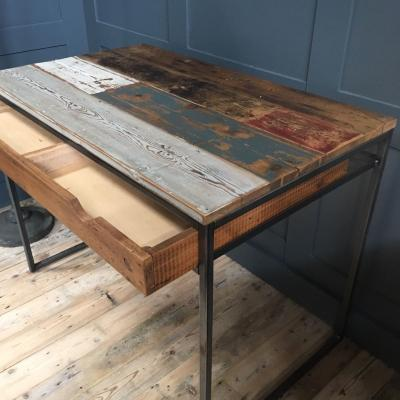 METAL AND RECLAIMED BOARDS DESK £650