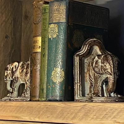 CAST IRON ELEPHANT BOOKENDS £45
