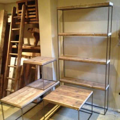 Metal and Reclaimed Wood Shelving