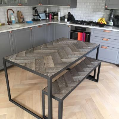 Herringbone Wood and Angle Iron Table