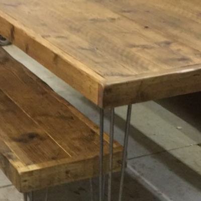 Hair Pin Leg Reclaimed Wood Table and Bench