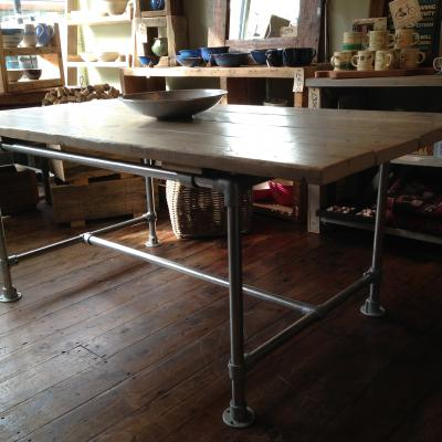 Scaffold Pole Table Whitewashed