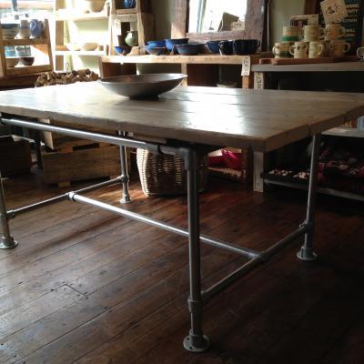Scaffold Pole Table Whitewashed