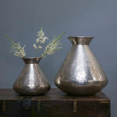 Silver Nickel Etched Vase