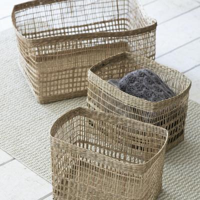 SET OF 3 MIXED WEAVE STOARGE BASKETS