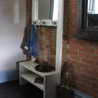 Hallway Mirror with Storage & Coat Hooks