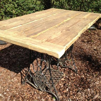 Singer Sewing Base Reclaimed Wood Table £495