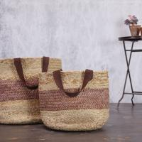 AJARI JUTE BAG - NATURAL & BURGUNDY £69.95