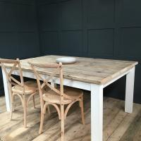 RECLAIMED WOOD TABLE WITH EXTENDING LEAVE