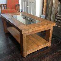 Glass Topped Reclaimed Wood Low Table