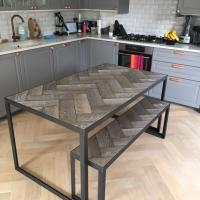 Herringbone Wood and Metal Table