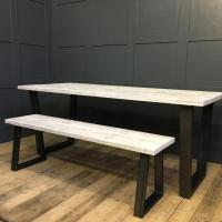 Trapazian Leg Table with Scaffold Board Top