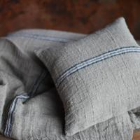 KALLI LINEN CUSHION COVER - NATURAL & BLUE from £29.95