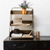 3 TIER DESK TIDY ANTIQUE BRASS