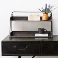 2 TIER DESK TIDY ANTIQUE BLACK/BRASS