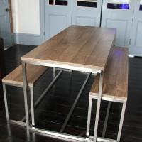 Stainless Steel Base Table with American Black Walnut Top