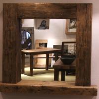 Reclaimed Wood Framed Mirror with Shelf