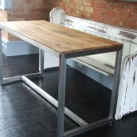 Steel Based Table with Reclaimed Oak Top